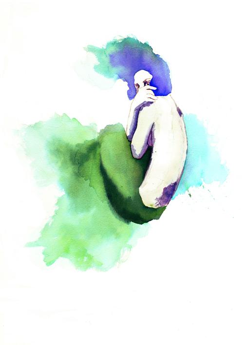 ilustracion acuarela sirena