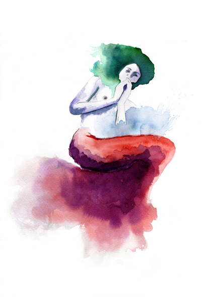 ilustracion acuarela sirenaverde