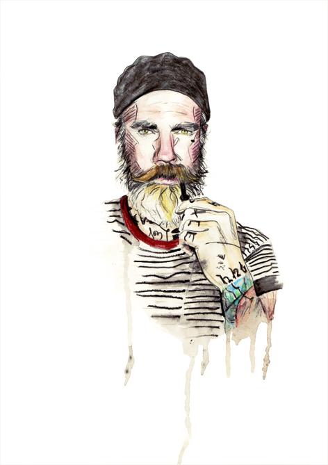 ilustracion viejo marinero acuarela