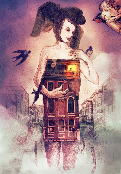 ilustracion mujer edificio