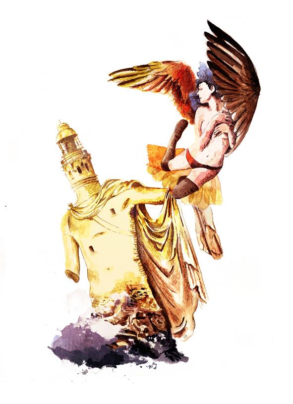 ilustracion acuarela mujer faro